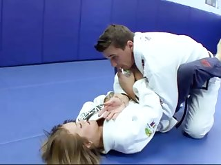 Ultra-Kinky Karate college girls smashes with their way trainer after a superb karate session