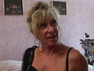 La Cochonne - Mature blonde French newbie gets cum imperceivable
