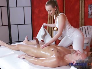 Massage Rooms Loud orgasms and creampie for broad in the beam cock