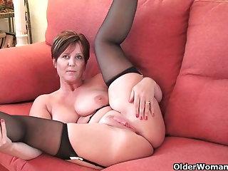 British milf Joy exposing her big tits plus hot fanny