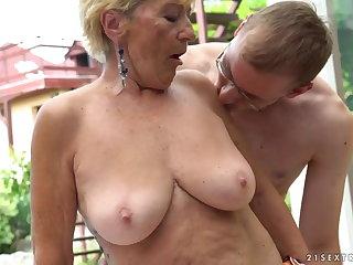 Granny fucks adjoining a pool