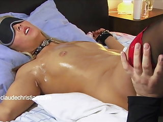 Tied blonde all round wet blanket wet pussy licked to orgasm