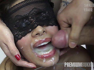 Liberality Bukkake - Victoria swallows 81 big mouthful cumloads
