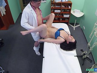 Wife strips naked for her doctor who wants to fuck her