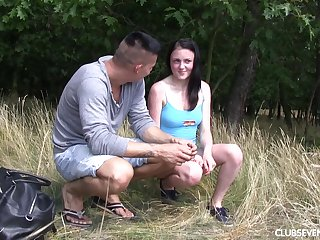 Brunette Russian teen Aleksa Rey fingered and fucked outdoors