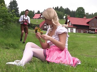 Teen with blonde pigtails Cayla Lyons bends over for a fuck outdoors