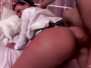 Teen in a miniskirt Amalia gets a rough doggy draught fuck