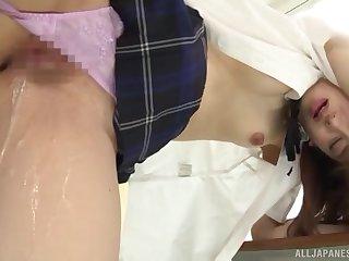 Japanese schoolgirl in hard scenes of dealings at school