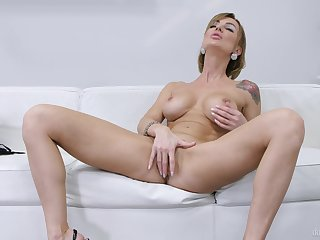 Lovely females in raw scenes of solo mainly burnish apply couch