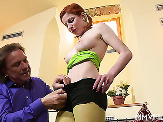 Pigtailed Czech red head Rita Sinclair gets a chance to ride fat horseshit of stranger