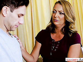 Tanned full-grown Brenda James gets intimate beside one young dude