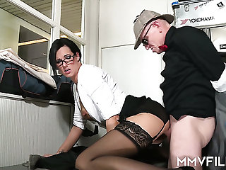 Sexy office slut Sina Velvet can't resist a man relating to a nice dick