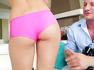 Light haired pretty bikini girl is ready to get rid of her thongs for some sex