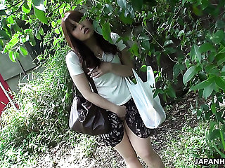 Beautiful together with curious redhead Asian teen watches sex on the street together with masturbates