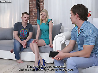 Lewd cuckold BF watches the way his blonde girlfriend gives a hot bushwa ride