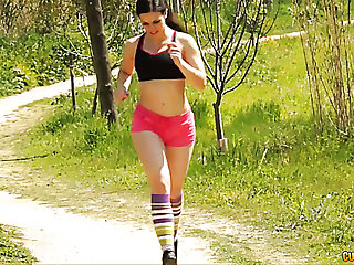 Nonconforming sporty unlighted babe in pink shorts picked up in the park