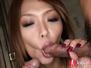 Ardent buxom nympho Rian spreads paws wide to be fucked missionary style