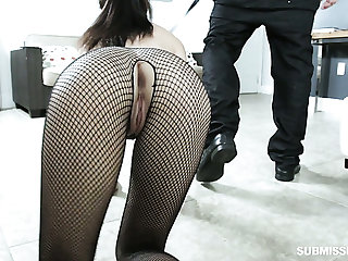 Hoochie in ripped fishnet pantyhose Jasmine Vega gives her head before a imbecile sex with her ex-bf
