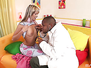 Naturally expecting nympho Blue Angel lets black doctor treat her right