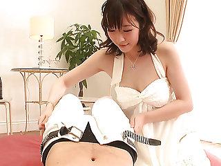 Japanese geisha Hitomi Oki works heavens soft cock of their way kinky man