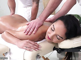 Erotic massage is rancid into wild MMF triple hither Francys Belle