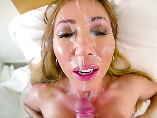 Kianna Dior gets a big messy facial from his hard cock